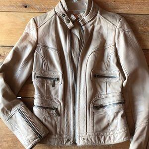 Michael Kors leather bomber jacket